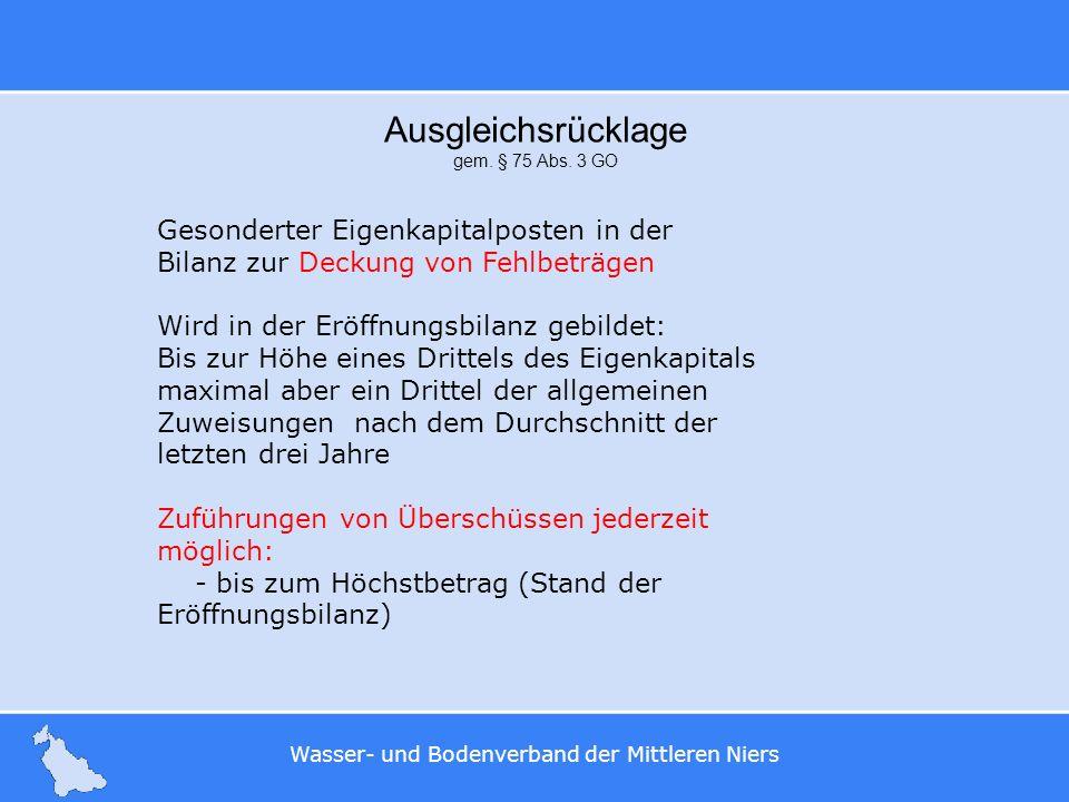 Wasser- und Bodenverband der Mittleren Niers Ausgleichsrücklage gem. § 75 Abs. 3 GO Gesonderter Eigenkapitalposten in der Bilanz zur Deckung von Fehlb