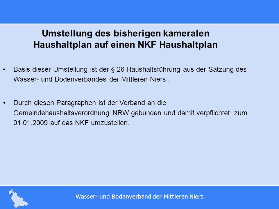 Wasser- und Bodenverband der Mittleren Niers Umstellung des bisherigen kameralen Haushaltplan auf einen NKF Haushaltplan Basis dieser Umstellung ist d