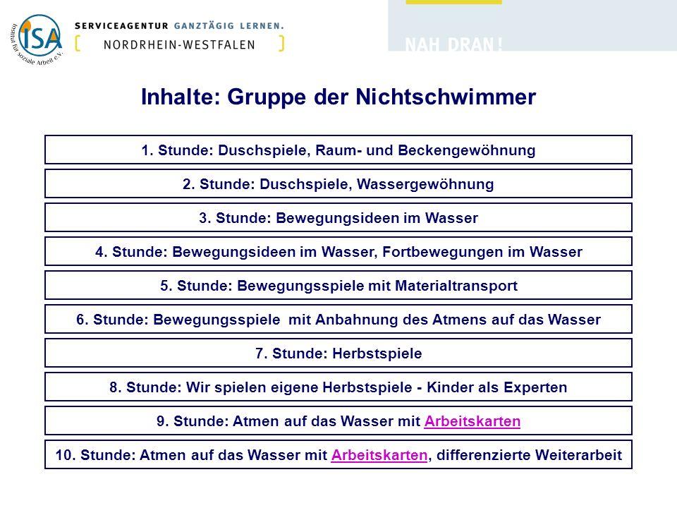 Inhalte: Gruppe der Nichtschwimmer 1.Stunde: Duschspiele, Raum- und Beckengewöhnung 2.