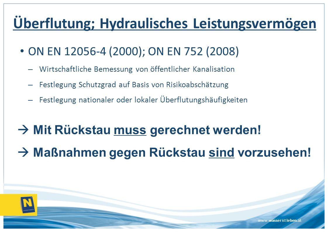 www.wasser ist leben.at Überflutung; Hydraulisches Leistungsvermögen ON EN 12056-4 (2000); ON EN 752 (2008) – Wirtschaftliche Bemessung von öffentlich