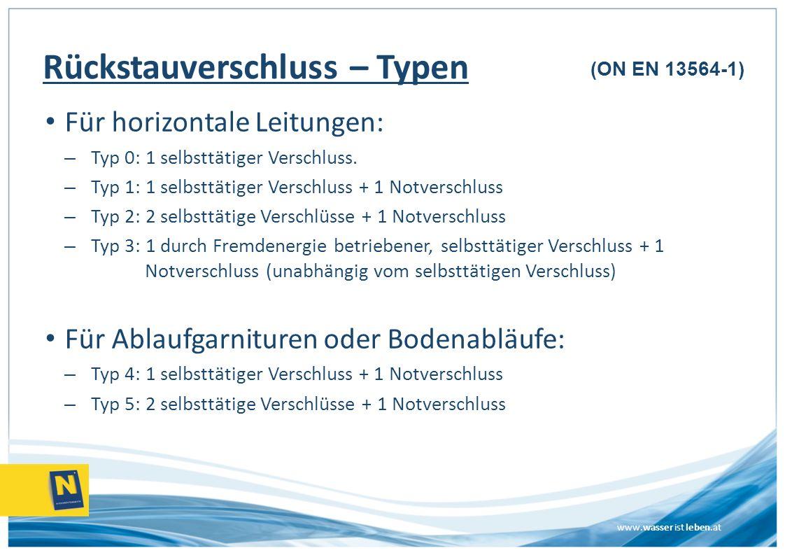 www.wasser ist leben.at Rückstauverschluss – Typen Für horizontale Leitungen: – Typ 0: 1 selbsttätiger Verschluss. – Typ 1: 1 selbsttätiger Verschluss