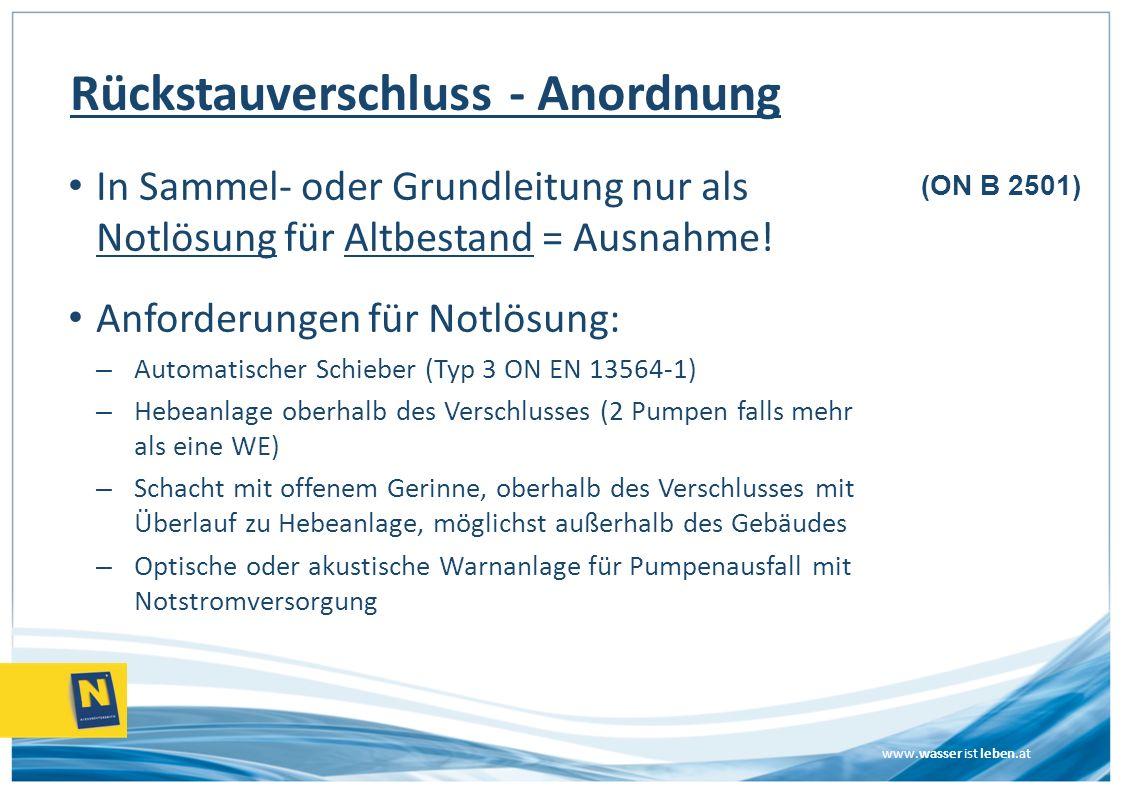 www.wasser ist leben.at Rückstauverschluss - Anordnung In Sammel- oder Grundleitung nur als Notlösung für Altbestand = Ausnahme! Anforderungen für Not