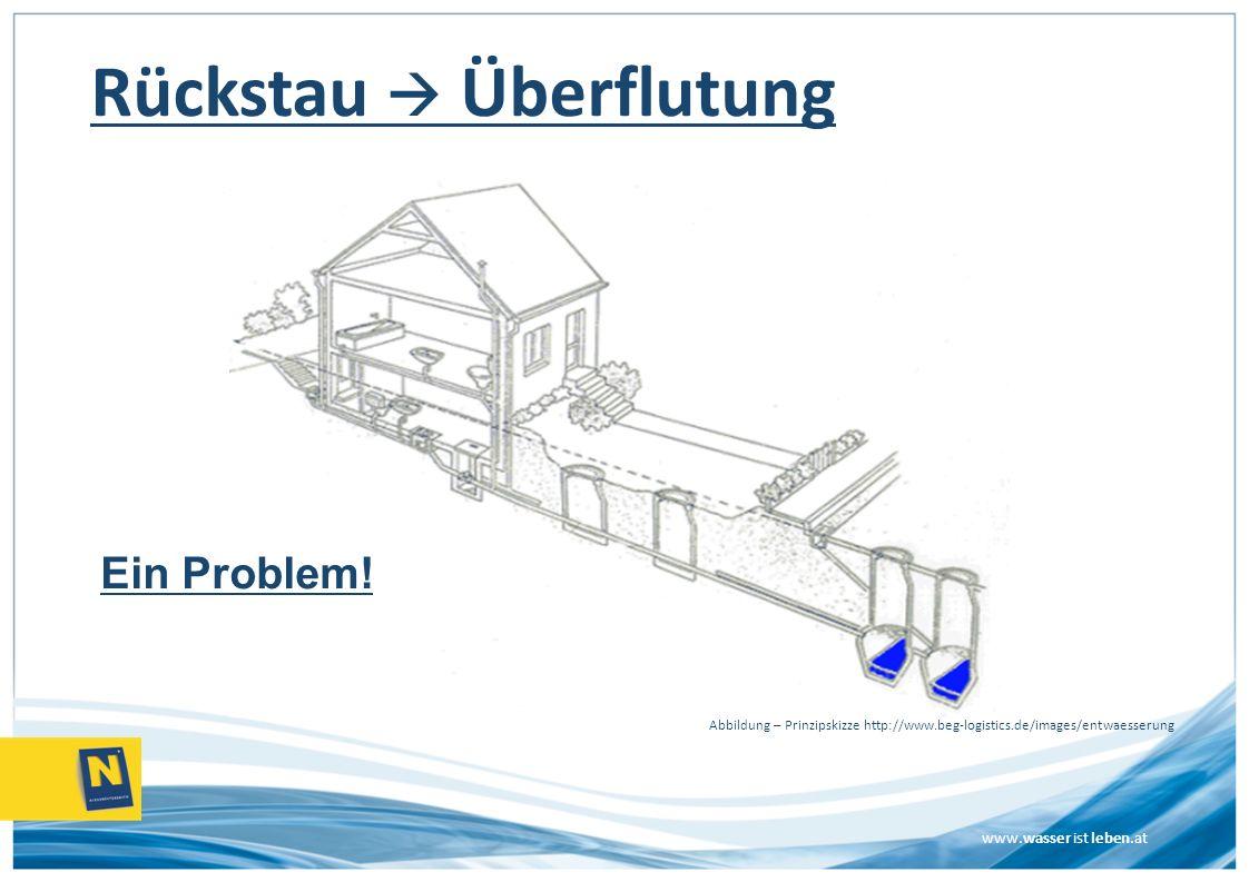 www.wasser ist leben.at Rückstau Überflutung Ein Problem! Abbildung – Prinzipskizze http://www.beg-logistics.de/images/entwaesserung