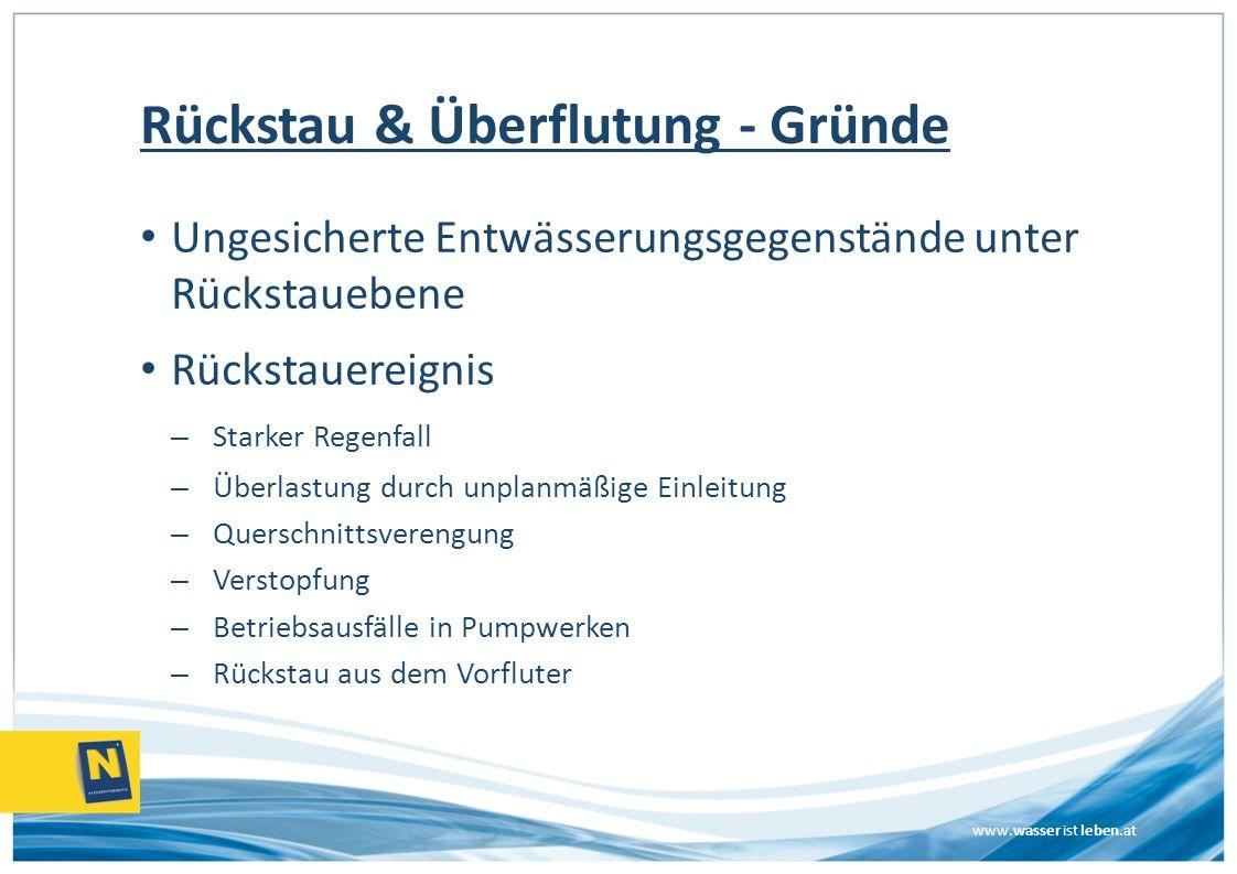 www.wasser ist leben.at Rückstau & Überflutung - Gründe Ungesicherte Entwässerungsgegenstände unter Rückstauebene Rückstauereignis – Starker Regenfall