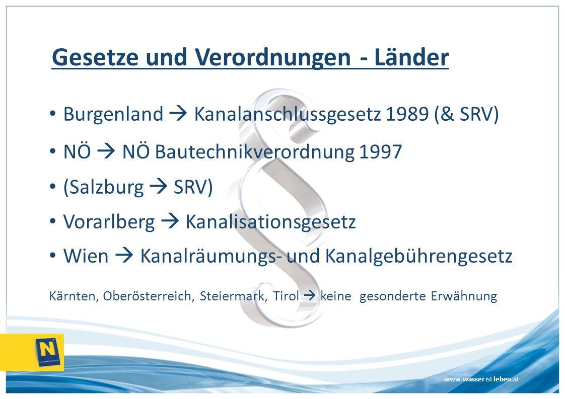 www.wasser ist leben.at Gesetze und Verordnungen - Länder Burgenland Kanalanschlussgesetz 1989 (& SRV) NÖ NÖ Bautechnikverordnung 1997 (Salzburg SRV)