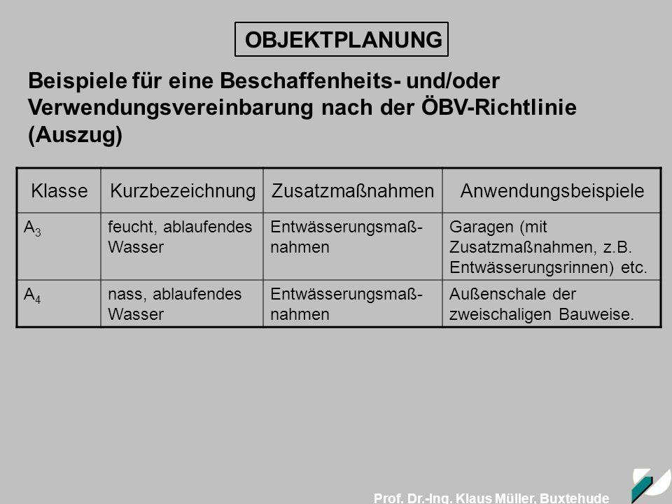 Prof. Dr.-Ing. Klaus Müller, Buxtehude OBJEKTPLANUNG Beispiele für eine Beschaffenheits- und/oder Verwendungsvereinbarung nach der ÖBV-Richtlinie (Aus