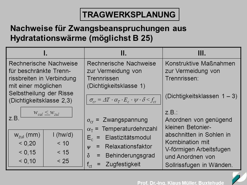 Prof. Dr.-Ing. Klaus Müller, Buxtehude TRAGWERKSPLANUNG Nachweise für Zwangsbeanspruchungen aus Hydratationswärme (möglichst B 25) I.II.III. Rechneris