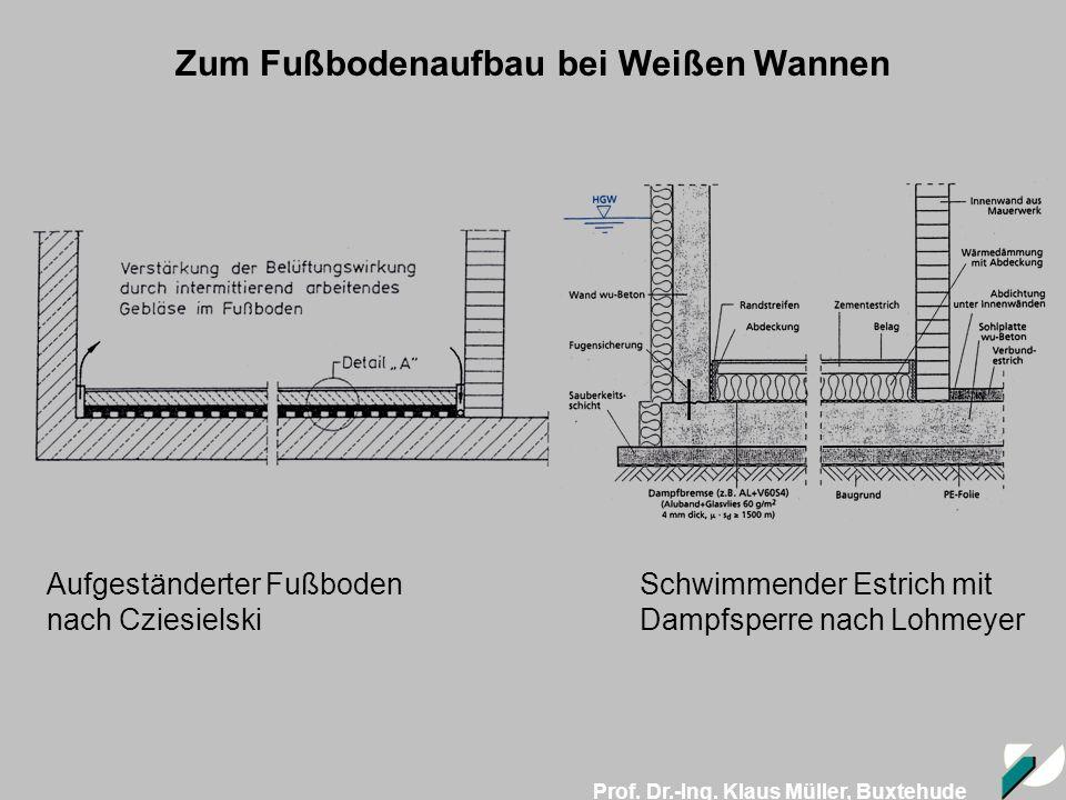 Prof. Dr.-Ing. Klaus Müller, Buxtehude Aufgeständerter Fußboden nach Cziesielski Schwimmender Estrich mit Dampfsperre nach Lohmeyer Zum Fußbodenaufbau