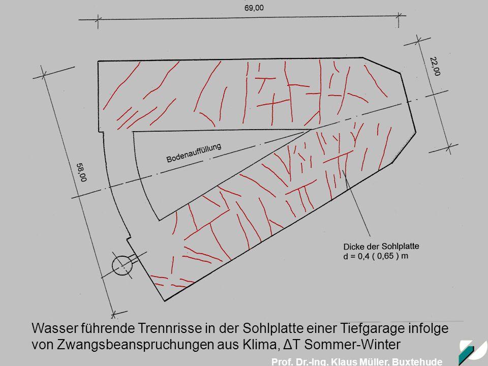 Prof. Dr.-Ing. Klaus Müller, Buxtehude Wasser führende Trennrisse in der Sohlplatte einer Tiefgarage infolge von Zwangsbeanspruchungen aus Klima, ΔT S
