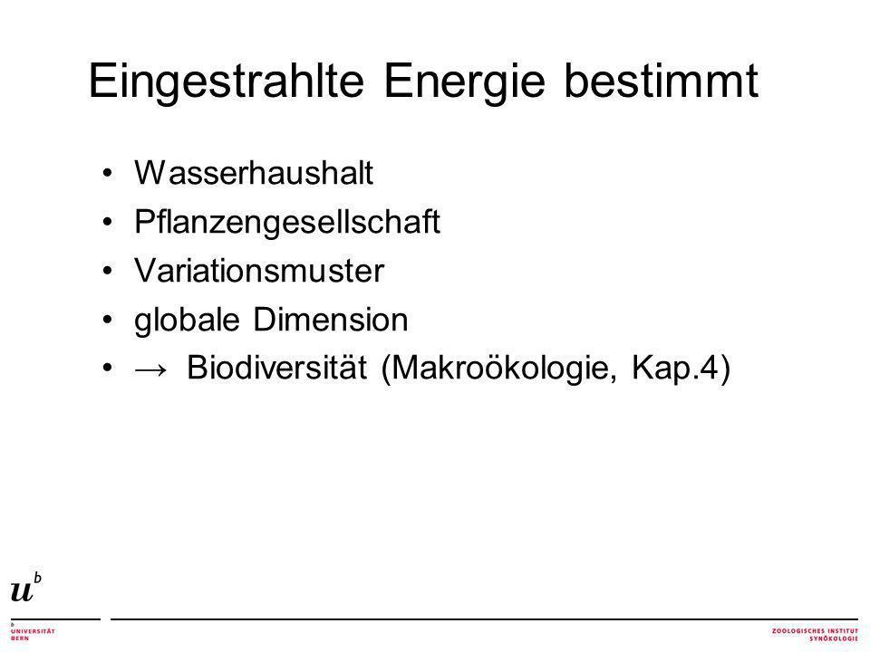 Wasserhaushalt Pflanzengesellschaft Variationsmuster globale Dimension Biodiversität (Makroökologie, Kap.4) Eingestrahlte Energie bestimmt
