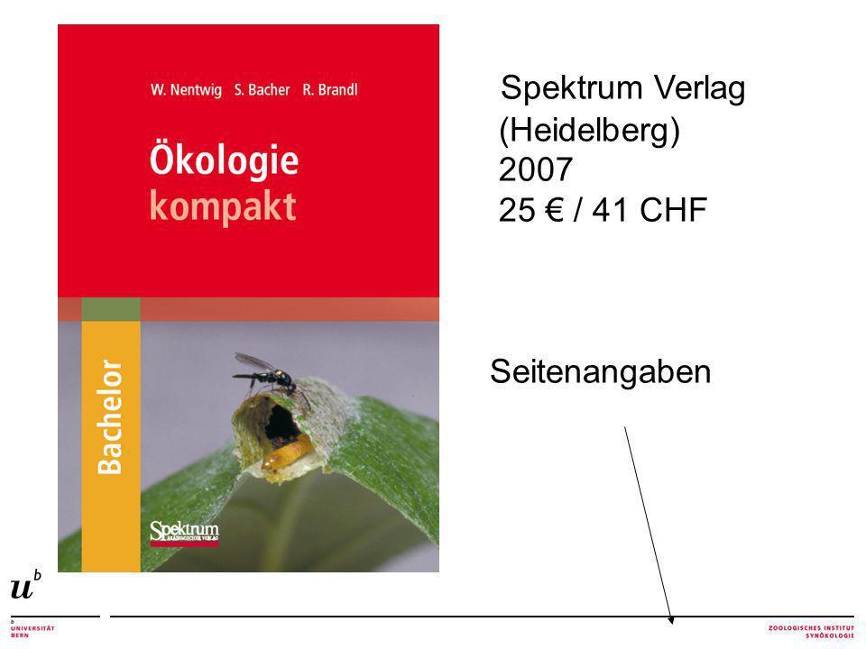 Spektrum Verlag (Heidelberg) 2007 25 / 41 CHF Seitenangaben