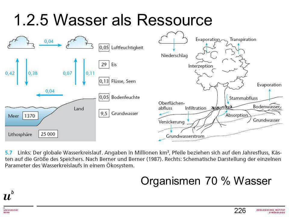 1.2.5 Wasser als Ressource 226 Organismen 70 % Wasser