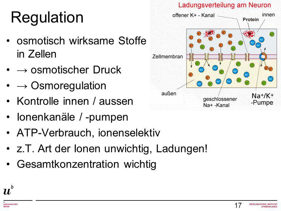 Regulation 17 osmotisch wirksame Stoffe in Zellen osmotischer Druck Osmoregulation Kontrolle innen / aussen Ionenkanäle / -pumpen ATP-Verbrauch, ionenselektiv z.T.