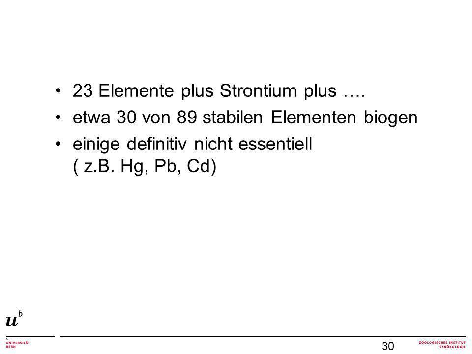 23 Elemente plus Strontium plus …. etwa 30 von 89 stabilen Elementen biogen einige definitiv nicht essentiell ( z.B. Hg, Pb, Cd) 30