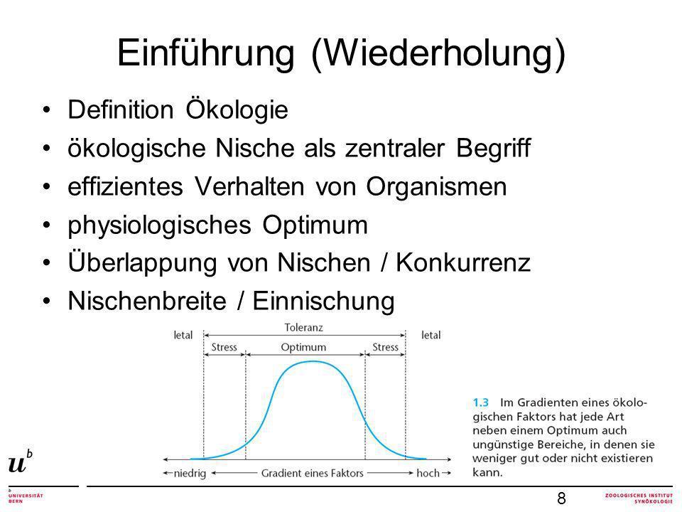 Einführung (Wiederholung) Definition Ökologie ökologische Nische als zentraler Begriff effizientes Verhalten von Organismen physiologisches Optimum Überlappung von Nischen / Konkurrenz Nischenbreite / Einnischung 8