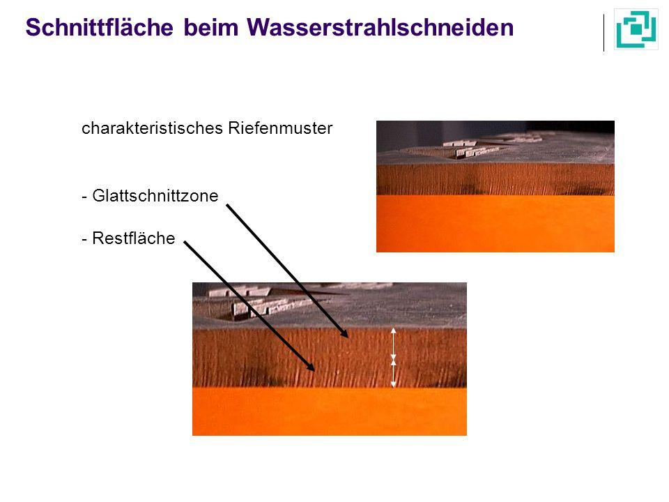 charakteristisches Riefenmuster - Glattschnittzone - Restfläche Schnittfläche beim Wasserstrahlschneiden