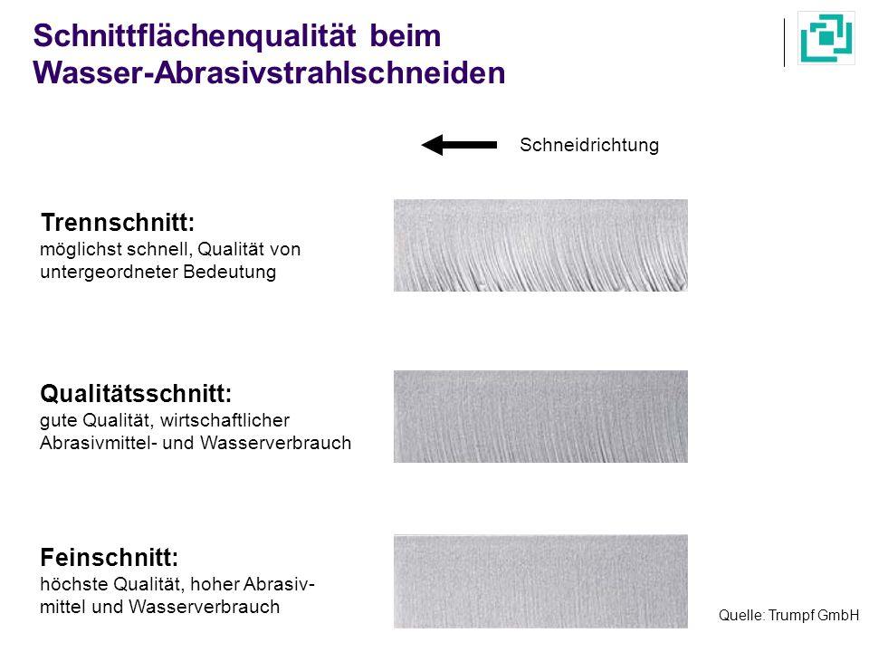 Quelle: Trumpf GmbH Schnittflächenqualität beim Wasser-Abrasivstrahlschneiden Trennschnitt: möglichst schnell, Qualität von untergeordneter Bedeutung