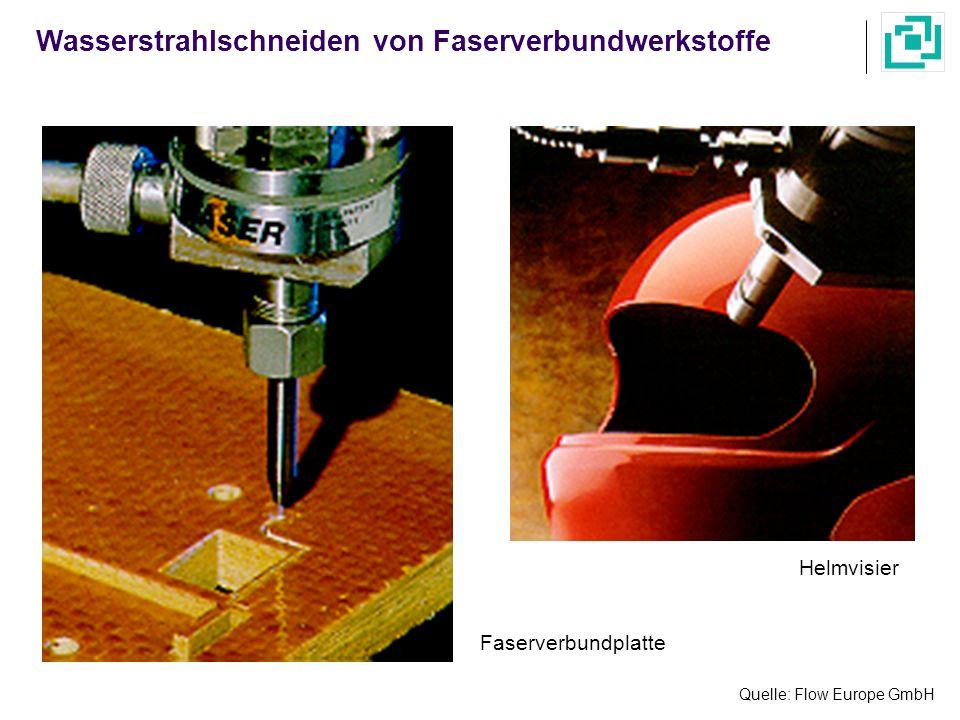 Quelle: Flow Europe GmbH Helmvisier Faserverbundplatte Wasserstrahlschneiden von Faserverbundwerkstoffe