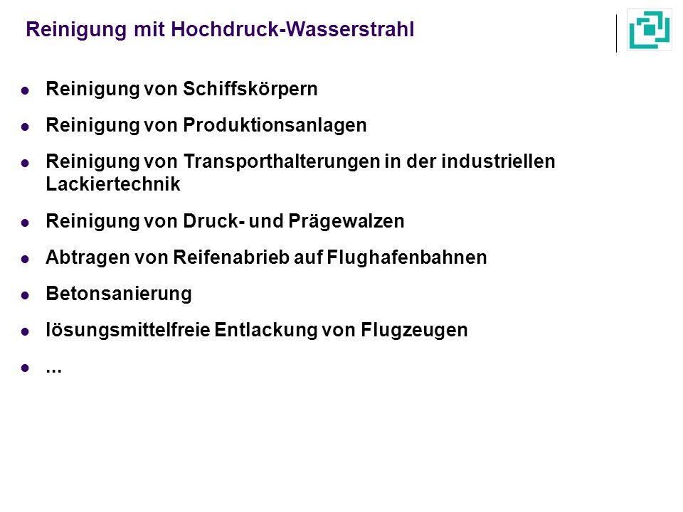 Reinigung mit Hochdruck-Wasserstrahl Reinigung von Schiffskörpern Reinigung von Produktionsanlagen Reinigung von Transporthalterungen in der industrie