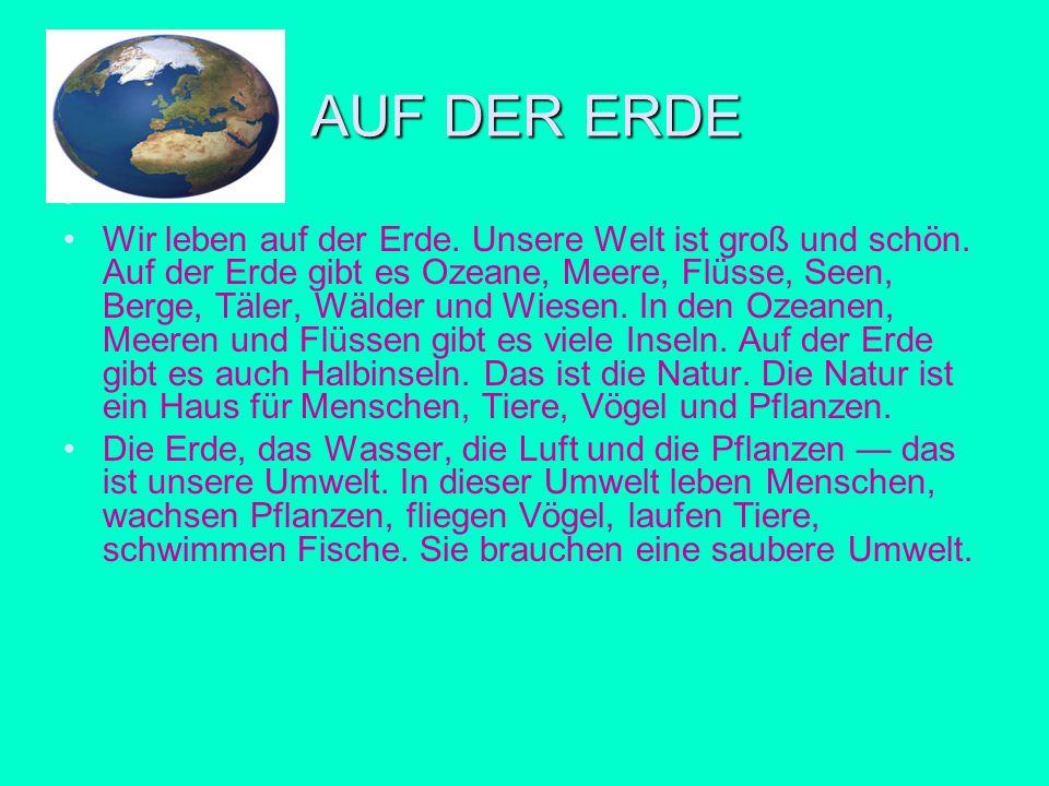 AUF DER ERDE Wir leben auf der Erde. Unsere Welt ist groß und schön. Auf der Erde gibt es Ozeane, Meere, Flüsse, Seen, Berge, Täler, Wälder und Wiesen