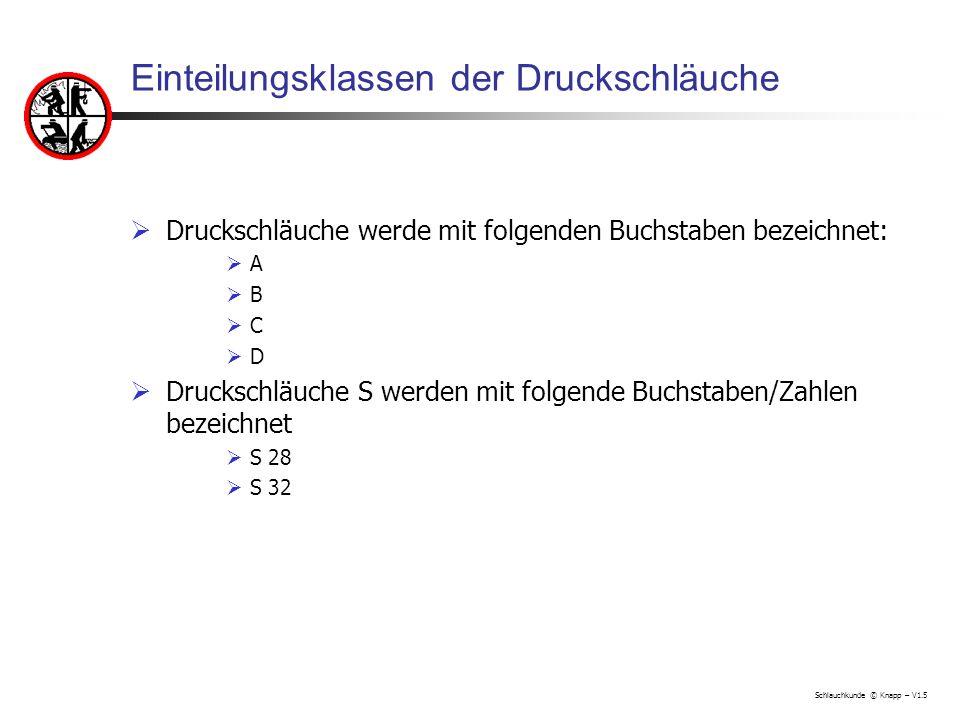 Schlauchkunde © Knapp – V1.5 Gewichte von Druckschläuchen S Kurzzeichen Gewichte mit Kupplungen in kg S 2837,6 S 3240,6