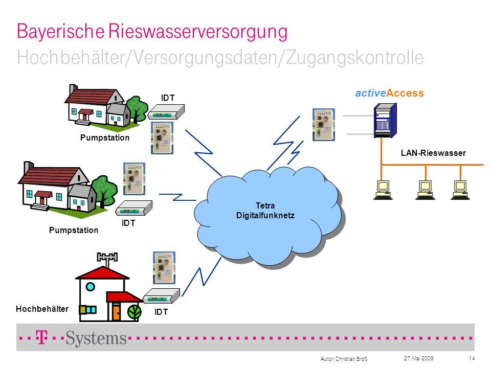 27. Mai 2009 Autor: Christian Broß 14 Bayerische Rieswasserversorgung Hochbehälter/Versorgungsdaten/Zugangskontrolle Tetra Digitalfunknetz activeAcces