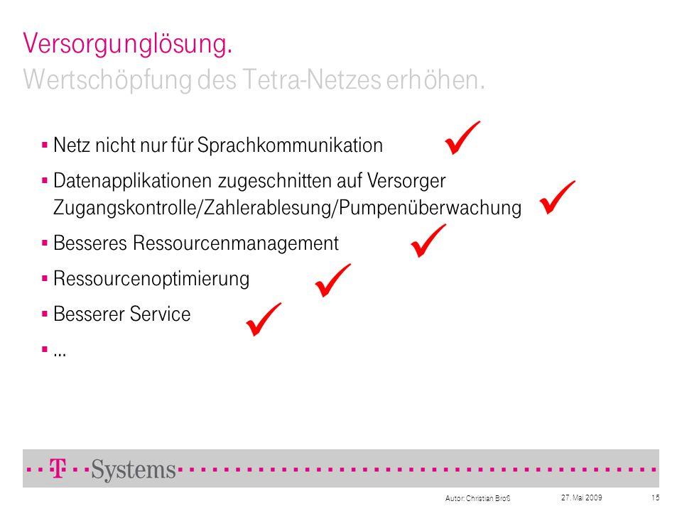 27. Mai 2009 Autor: Christian Broß 15 Versorgunglösung. Wertschöpfung des Tetra-Netzes erhöhen. Netz nicht nur für Sprachkommunikation Datenapplikatio