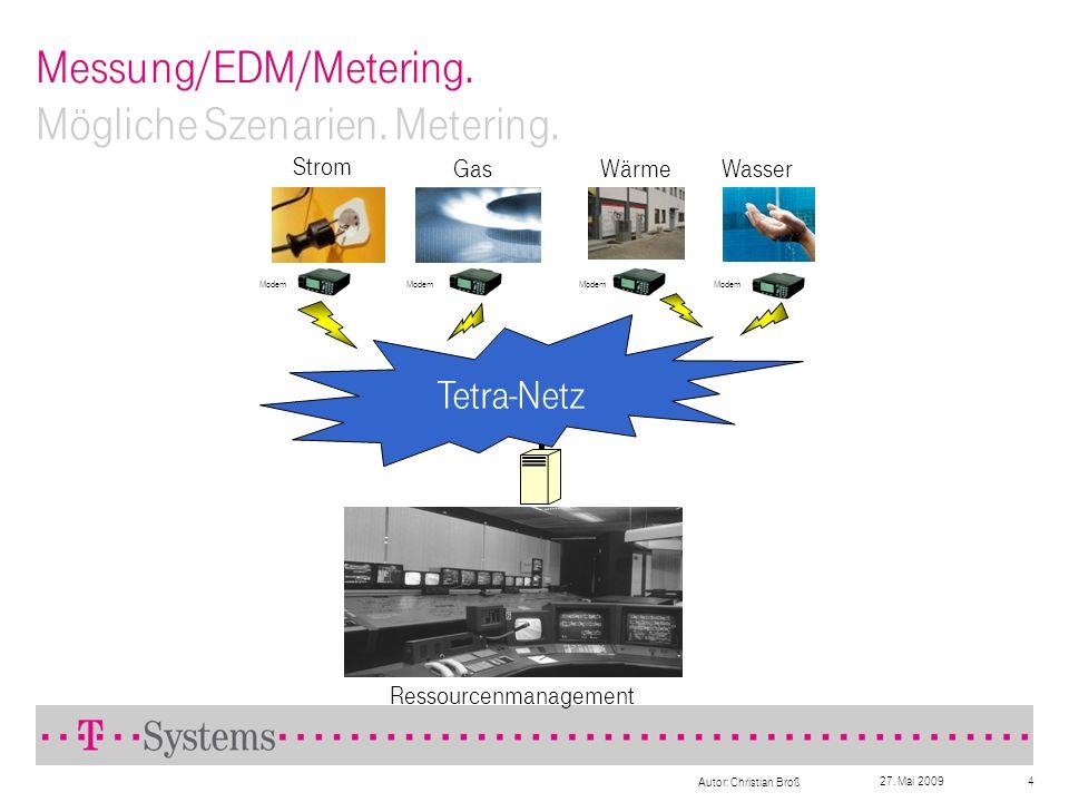 27. Mai 2009 Autor: Christian Broß 4 Messung/EDM/Metering. Mögliche Szenarien. Metering. Ressourcenmanagement Strom GasWärmeWasser Tetra-Netz Modem