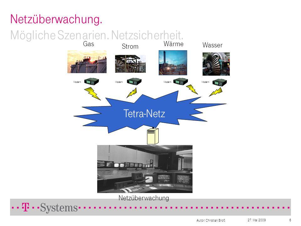 27. Mai 2009 Autor: Christian Broß 6 Netzüberwachung. Mögliche Szenarien. Netzsicherheit. Netzüberwachung Tetra-Netz Modem Strom GasWärme Wasser