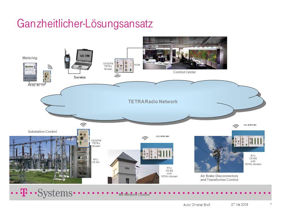 27. Mai 2009 Autor: Christian Broß 7 Ganzheitlicher-Lösungsansatz CE100TM TETRA Modem TETRA Radio Network Substation Control CE100TM TETRA Modem Node