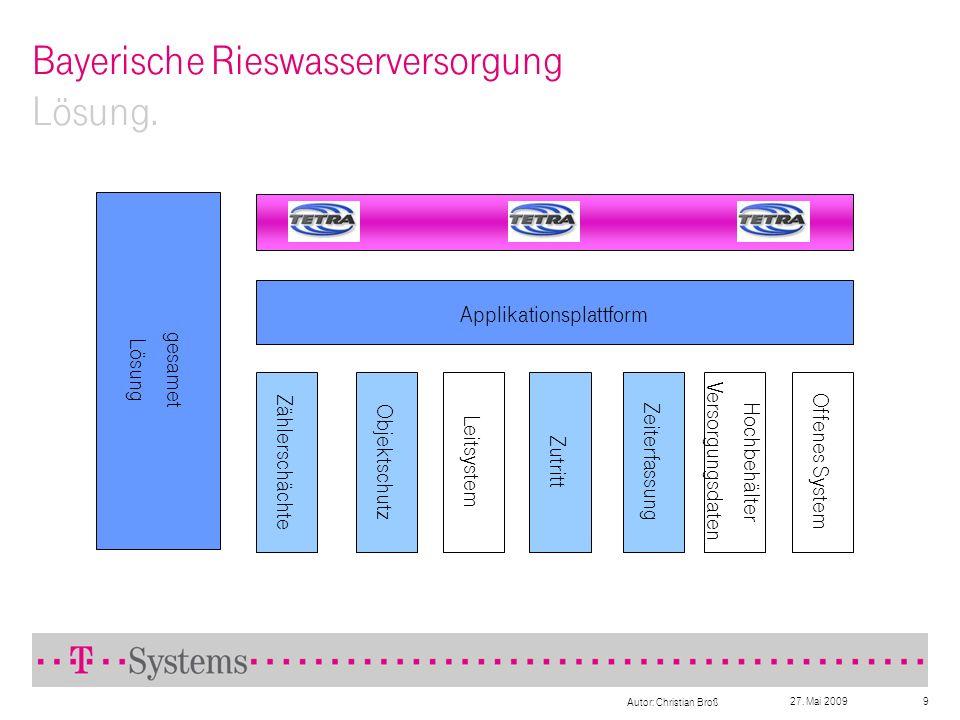 27. Mai 2009 Autor: Christian Broß 9 Bayerische Rieswasserversorgung Lösung. Applikationsplattform Zählerschächte Objektschutz Leitsystem Zutritt Zeit