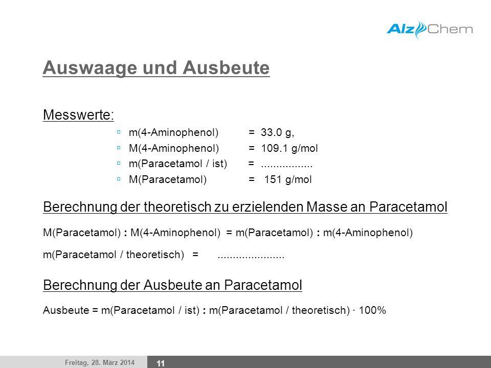 Freitag, 28. März 2014 11 Auswaage und Ausbeute Messwerte: m(4-Aminophenol) = 33.0 g, M(4-Aminophenol) = 109.1 g/mol m(Paracetamol / ist) =...........