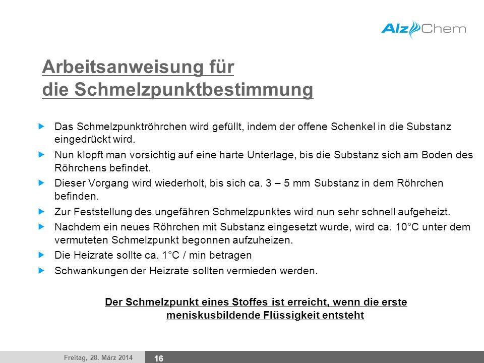 Freitag, 28. März 2014 16 Arbeitsanweisung für die Schmelzpunktbestimmung Das Schmelzpunktröhrchen wird gefüllt, indem der offene Schenkel in die Subs