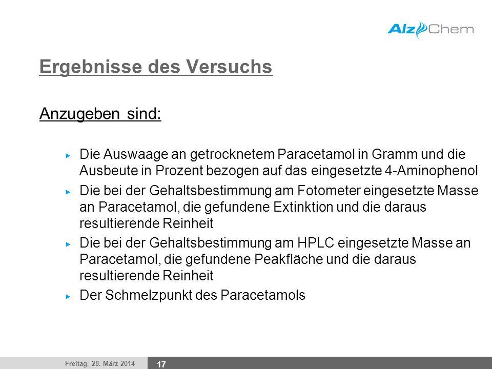 Freitag, 28. März 2014 17 Ergebnisse des Versuchs Anzugeben sind: Die Auswaage an getrocknetem Paracetamol in Gramm und die Ausbeute in Prozent bezoge