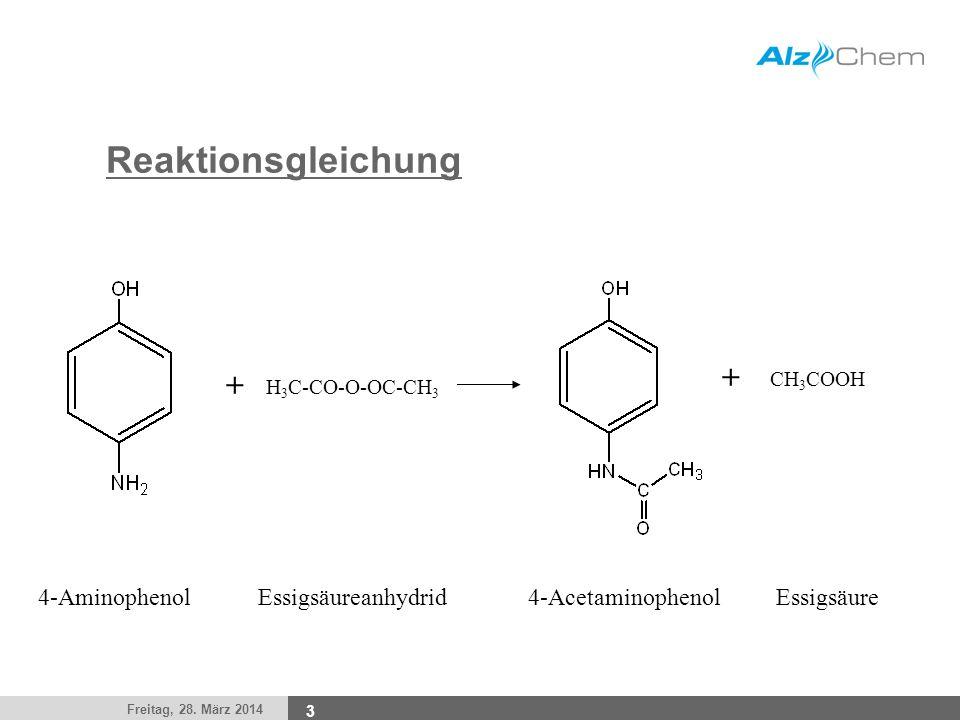 Freitag, 28. März 2014 3 Reaktionsgleichung + H 3 C-CO-O-OC-CH 3 CH 3 COOH + 4-AminophenolEssigsäureanhydrid4-AcetaminophenolEssigsäure