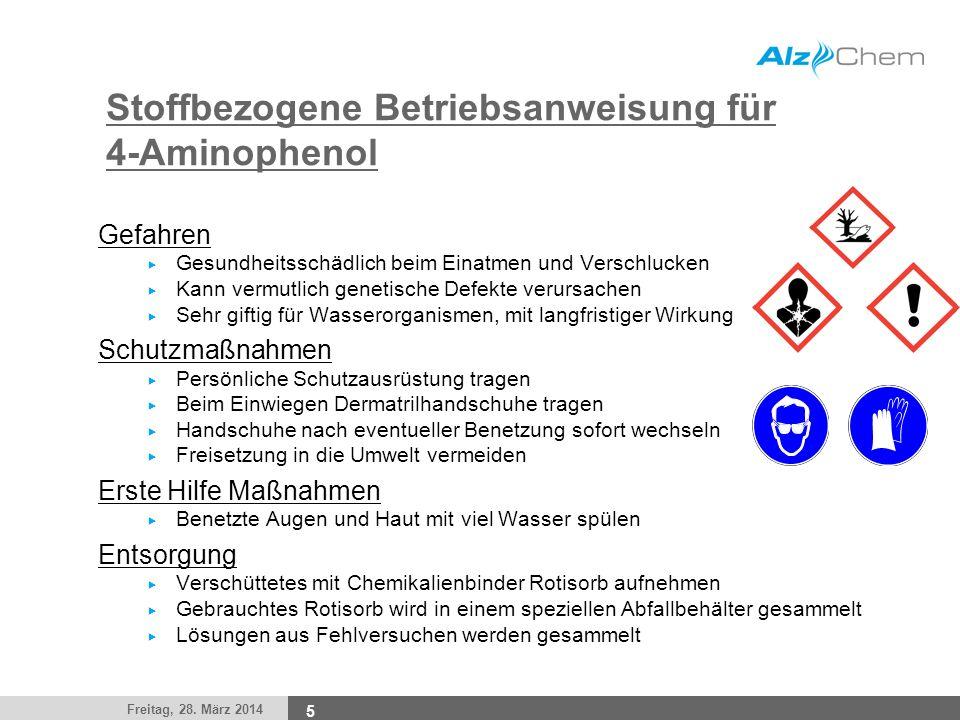 Freitag, 28. März 2014 5 Stoffbezogene Betriebsanweisung für 4-Aminophenol Gefahren Gesundheitsschädlich beim Einatmen und Verschlucken Kann vermutlic