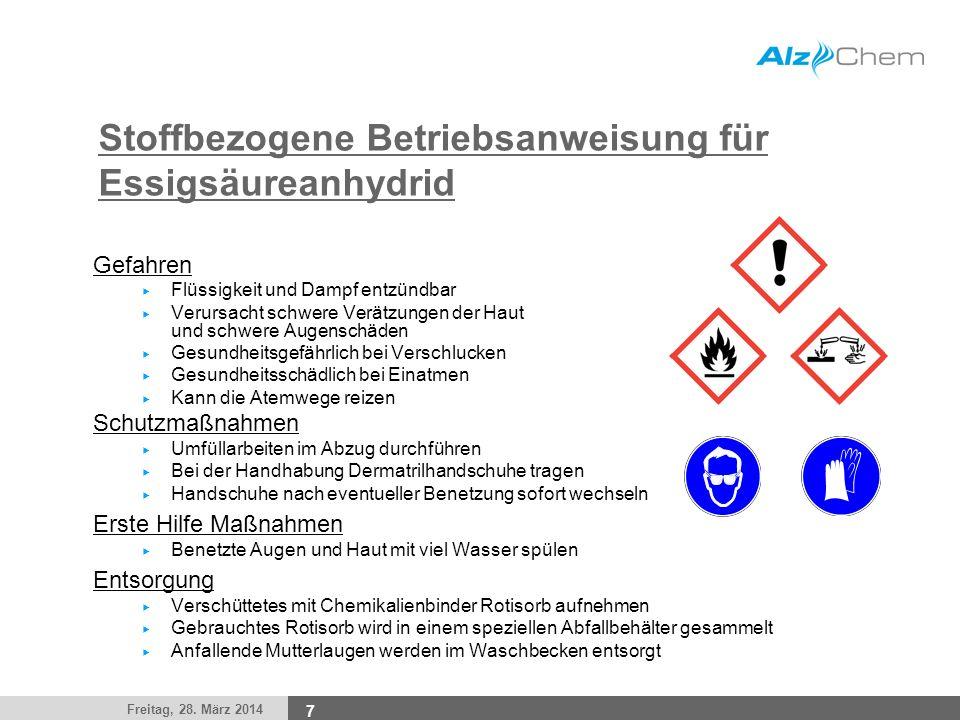 Freitag, 28. März 2014 7 Stoffbezogene Betriebsanweisung für Essigsäureanhydrid Gefahren Flüssigkeit und Dampf entzündbar Verursacht schwere Verätzung