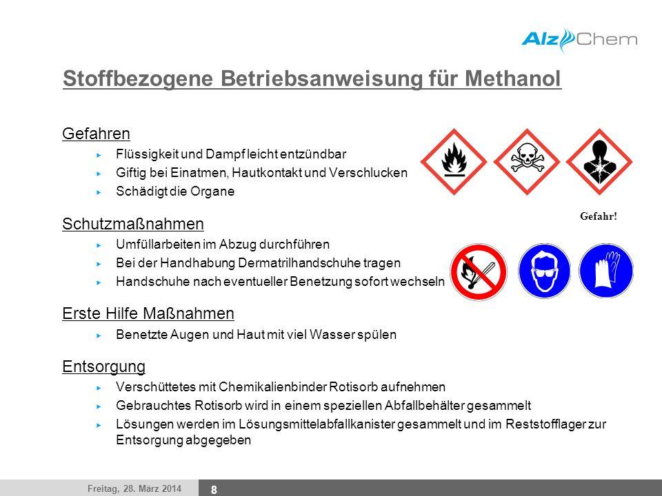 Freitag, 28. März 2014 8 Stoffbezogene Betriebsanweisung für Methanol Gefahren Flüssigkeit und Dampf leicht entzündbar Giftig bei Einatmen, Hautkontak