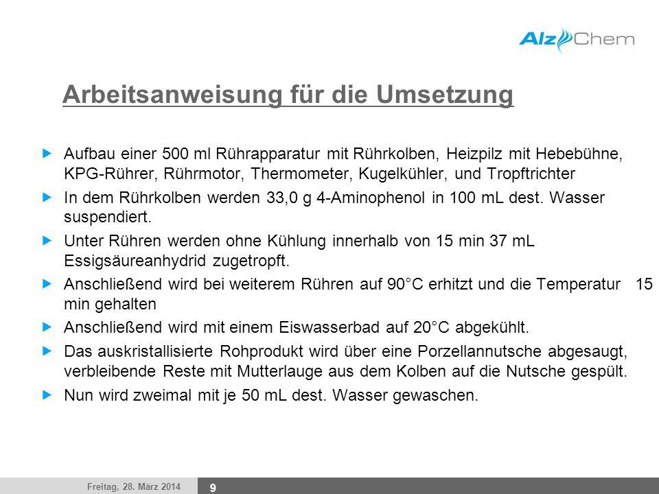 Freitag, 28. März 2014 9 Arbeitsanweisung für die Umsetzung Aufbau einer 500 ml Rührapparatur mit Rührkolben, Heizpilz mit Hebebühne, KPG-Rührer, Rühr