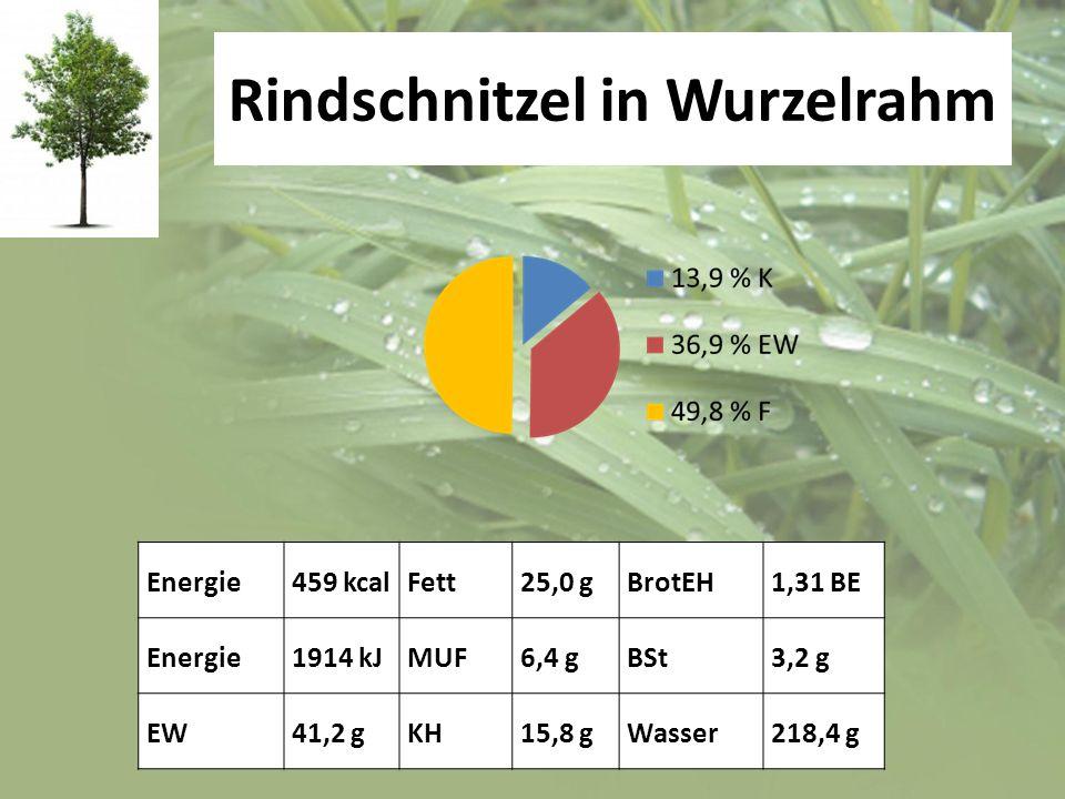 Rindschnitzel in Wurzelrahm Energie459 kcalFett25,0 gBrotEH1,31 BE Energie1914 kJMUF6,4 gBSt3,2 g EW41,2 gKH15,8 gWasser218,4 g