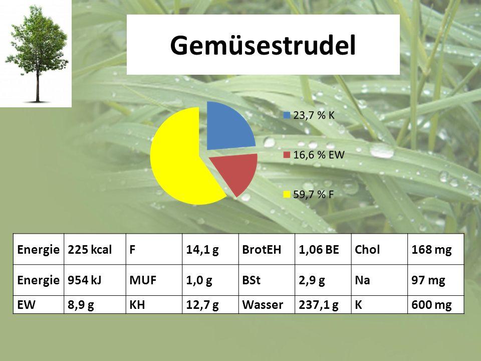 Gemüsestrudel Energie225 kcalF14,1 gBrotEH1,06 BEChol168 mg Energie954 kJMUF1,0 gBSt2,9 gNa97 mg EW8,9 gKH12,7 gWasser237,1 gK600 mg