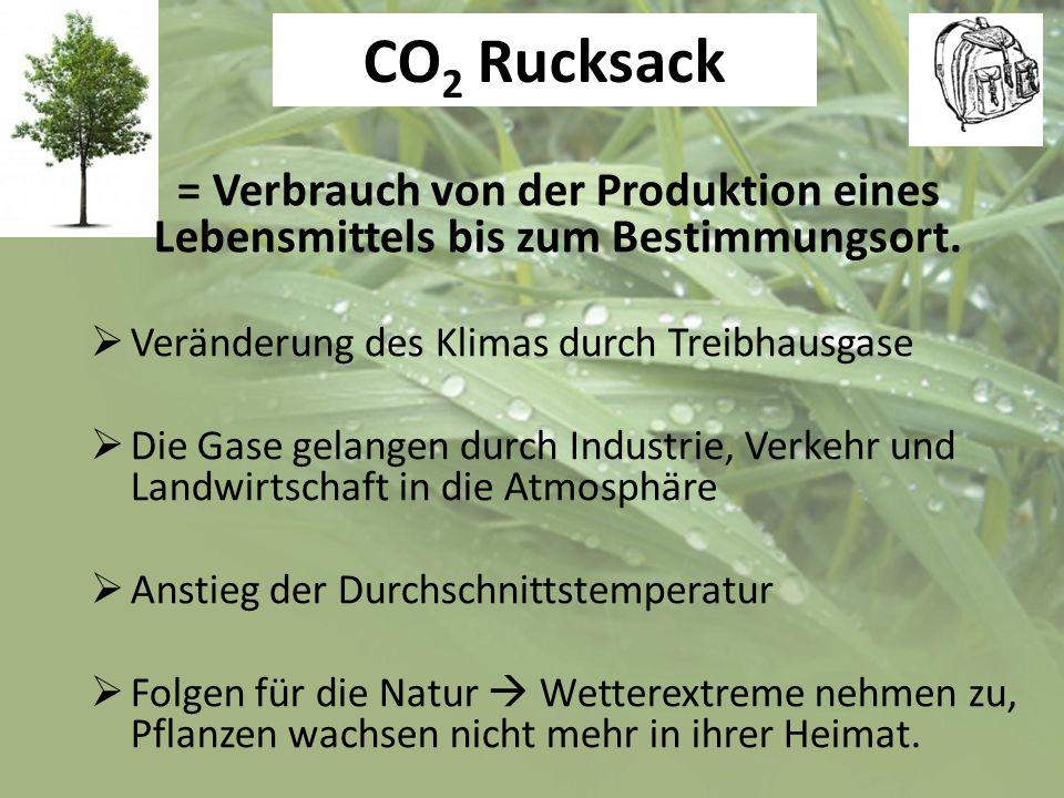 CO 2 Rucksack = Verbrauch von der Produktion eines Lebensmittels bis zum Bestimmungsort. Veränderung des Klimas durch Treibhausgase Die Gase gelangen