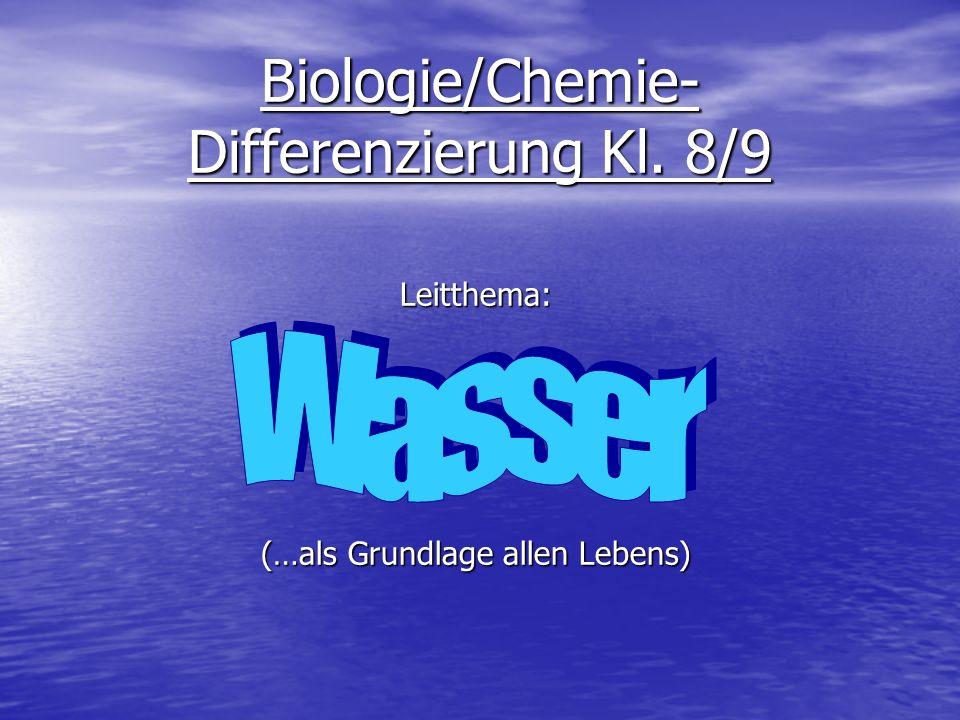 Leitthema: Wasser 1.C hemische und physikalische Eigenschaften des Wassers 2.