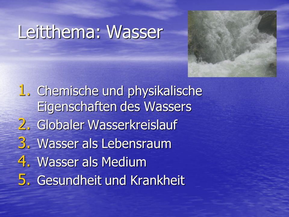 Leitthema: Wasser 1. C hemische und physikalische Eigenschaften des Wassers 2. G lobaler Wasserkreislauf 3. W asser als Lebensraum 4. W asser als Medi