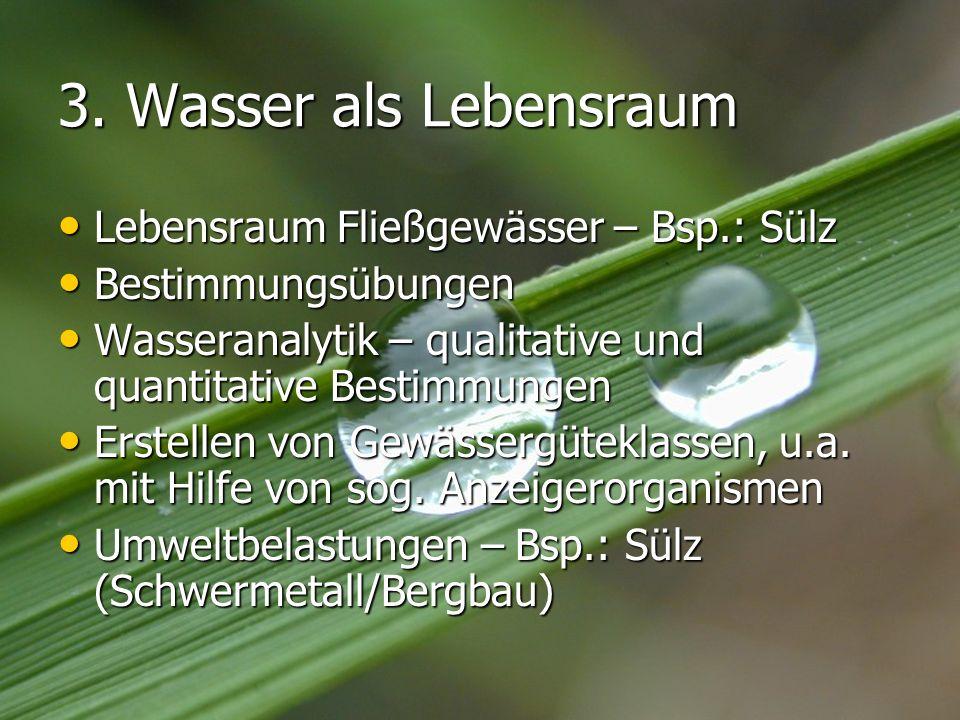 3. Wasser als Lebensraum Lebensraum Fließgewässer – Bsp.: Sülz Lebensraum Fließgewässer – Bsp.: Sülz Bestimmungsübungen Bestimmungsübungen Wasseranaly