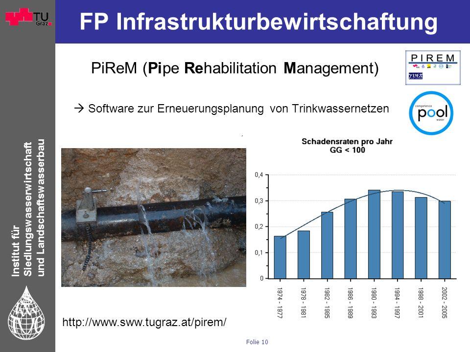 Institut für Siedlungswasserwirtschaft und Landschaftswasserbau Folie 10 FP Infrastrukturbewirtschaftung PiReM (Pipe Rehabilitation Management) Softwa