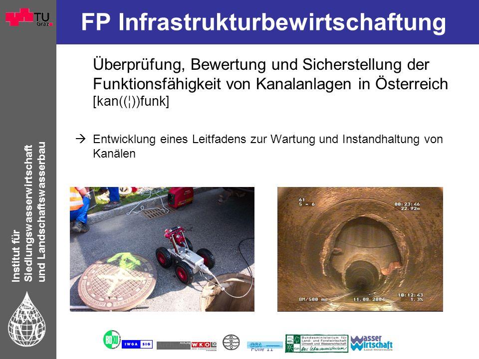 Institut für Siedlungswasserwirtschaft und Landschaftswasserbau Folie 11 FP Infrastrukturbewirtschaftung Überprüfung, Bewertung und Sicherstellung der