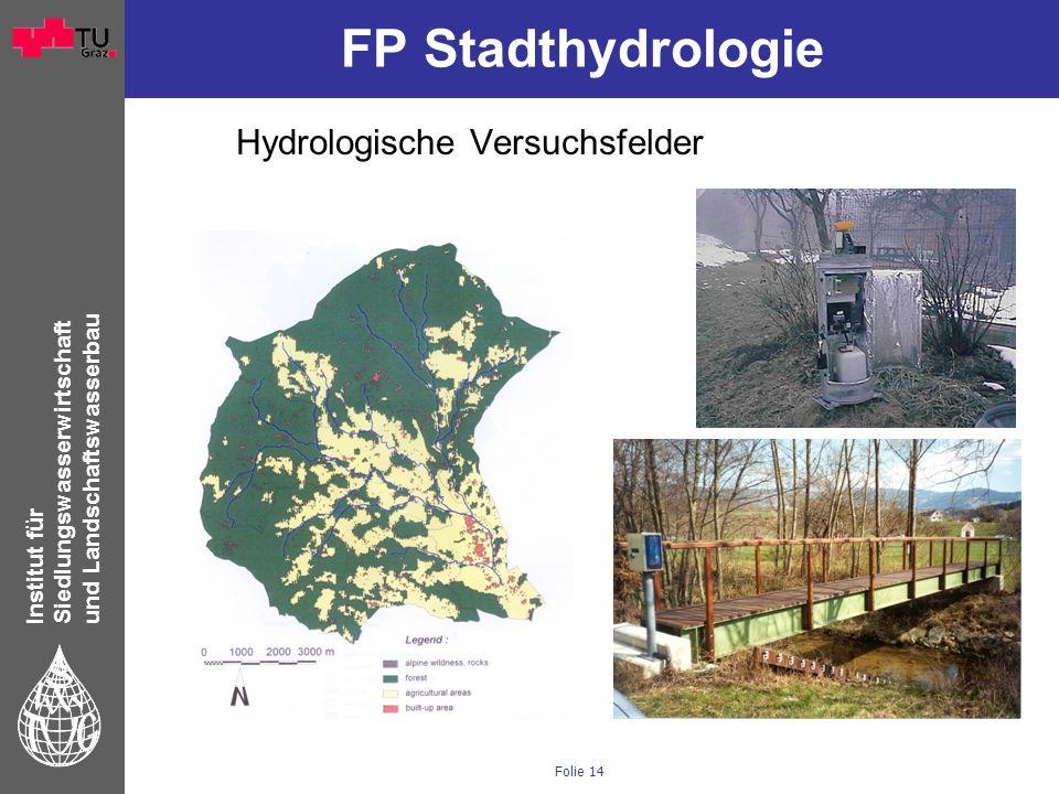 Institut für Siedlungswasserwirtschaft und Landschaftswasserbau Folie 14 FP Stadthydrologie Hydrologische Versuchsfelder