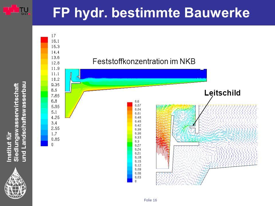 Institut für Siedlungswasserwirtschaft und Landschaftswasserbau Folie 16 FP hydr. bestimmte Bauwerke Feststoffkonzentration im NKB Leitschild