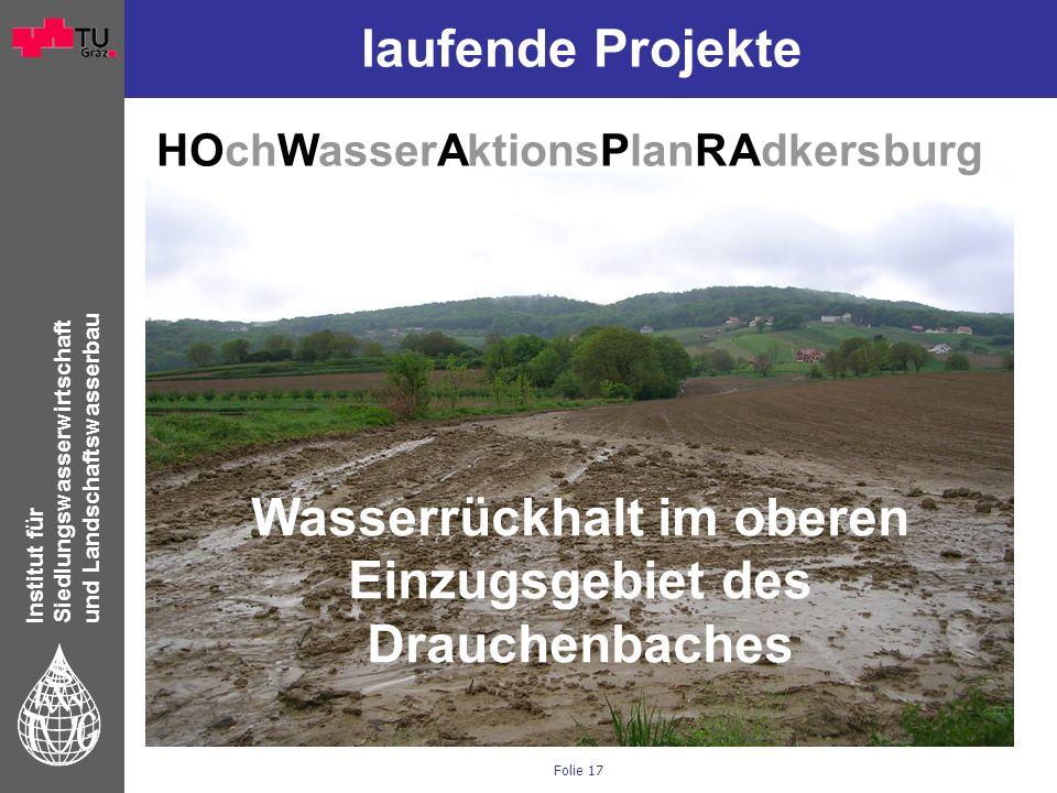 Institut für Siedlungswasserwirtschaft und Landschaftswasserbau Folie 17 laufende Projekte HOchWasserAktionsPlanRAdkersburg Wasserrückhalt im oberen E